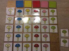 Matrix paddenstoelen. Sorteren volgens aantal (cijfer) en kleur *liestr*