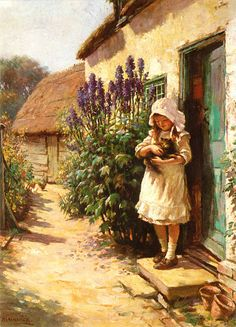Detail of 'The Cottage Door' - by William Kay Blacklock. In Unicorn Gallery, Wilmslow, Cheshire Date 1897