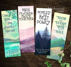 Aesop's Fables Bookmarks | Printable Set of 4 Aesop's Fables Bookmarks | Tortoise and the Hare | Birds of a Feather | Honesty is the Best