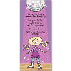 Disco Rollerskating Girl Invitations for Roller Skate Birthday Party