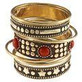 Noa Gold and Coral Stones Bangle Bracelet (India)