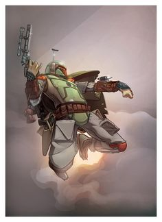 I just finished some colors on #BobaFett linework by @UURL_GR3YY on twitter Lines by:
