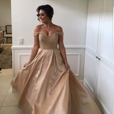 Real Photos Gold Color Sexy Backless Long Evening Dresses Bride Banquet Floor-length Party Prom Dress