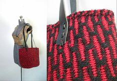 Black and Red Sisal Market Basket Handbag by looseendsvintage alexpals @alexgrn65