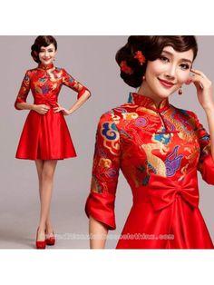 650792211 Chinese red qipao inspired mandarin collar A-line brocade wedding dress