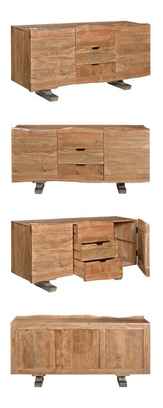Update your living room or dining room with this cool, contemporary take on an iconic mid-century design. With its acacia wood body construction and raw iron metal base, the Benny Buffet will feel righ...  Find the Benny Buffet, as seen in the Rustic Mediterranean Style Collection at http://dotandbo.com/collections/rustic-mediterranean-style?utm_source=pinterest&utm_medium=organic&db_sku=114763