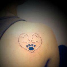 Two dogs heart tattoo
