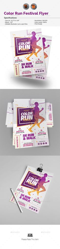 Color Run Festival Flyer Template — Vector EPS #event #sport • Download ➝ https://graphicriver.net/item/color-run-festival-flyer-template/19287525?ref=pxcr