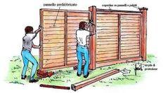 #lavorincasa : le recinzioni a pannelli di legno sono pratiche e schermanti. Vediamo come vanno messe in opera. con le illustrazioni del nostro designer....