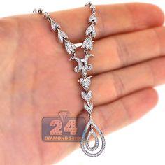 481c0e4e4aa Womens 1.33 Carat Diamond Leaf Y Shape Floral Design Necklace 14K White  Gold Tennis Necklace