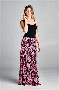 Neon Pink Damask Maxi Skirt
