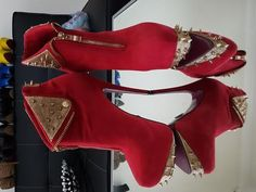 Red and gold spike ankle boot | Women's Shoes | Gumtree Australia Canterbury Area - Kingsgrove | 1133035466