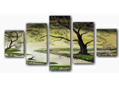 5-LUIK: Een prachtig kunstschilderij in vijf delen geschilderd op canvasdoek. Het 5 luik schilderij heeft een afbeelding van een kleine riviertje of een beek met helder water en een prachtige boom met groene bladeren. De vijf canvaspanelen hangen trapsgewijs naast elkaar en is echt een aanwinst voor het interieur.