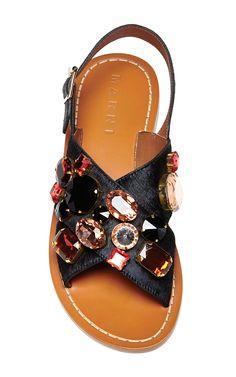 Embellished Black Flat Sandals by Marni Now Available on Moda Operandi