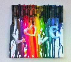 love the idea of putting a word it. this is my favorite one.  she used random sizes of crayons...adds character!