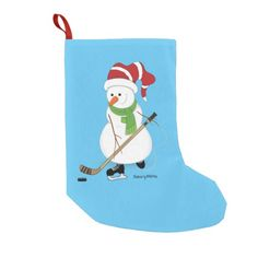 Hockey Snowman Christmas Stocking