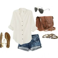 #casual #white #brown #summernights