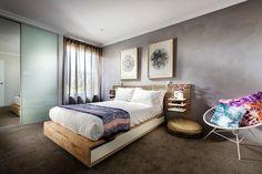 aménagement-chambre-coucher-lit-bois aménagement chambre à coucher