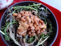 Natto with baby leave mizuna