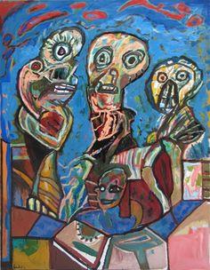 """Lucebert/""""de weesmeesters""""  oils on canvas, 180x140cm (1991)"""