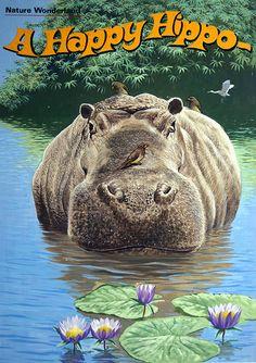 A Happy Hippo (Original) by unknown artist in 20th Century