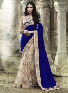 Blue Beige Embroidered Velvet & Net Indian Party Wear Sarees ,Indian Dresses - 1