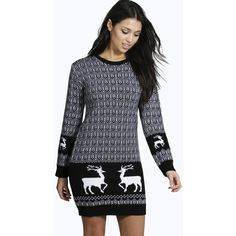 Boohoo Emma Reindeer Christmas Jumper Dress ($22) ❤ liked on Polyvore featuring tops, sweaters, black, black christmas sweater, black wrap sweater, black sequin sweater, knit turtleneck sweater and nordic sweater