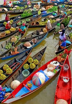 One of the coolest places we've been.  Loved it.   Floating Market,Bangkok, Thailand