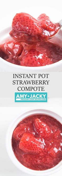 Make Instant Pot Strawberry Compote Recipe (Pressure Cooker Strawberry Compote): addictive easy Strawberry Sauce - great topping for cheesecake, breakfast. Strawberry Sauce, Fruit Compote, Strawberry Desserts, Cheesecake Toppings, Instapot Cheesecake, Cheesecake Recipes, Compote Recipe, Pressure Cooking Recipes, Sweets