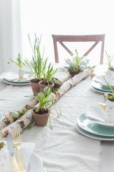 Easy Spring Table Setting l The runner is simply a piece of dropcloth which is bleached and washed several times, giving it the appearance and feel of linen.The entire setting is anchored by birch logs (available at MIchaels or Hobby Lobby craft stores - would not suggest using freshly picked logs as they might be the home of little critters). potted grass or flowers + Robin egg blue + moss or nests