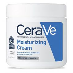 "Cera Ve Moisturizing Cream $13 - dermatologist recommends this ultra-rich body moisturizer contains ceramides (a lipid naturally found in the skin), as well as glycerin & hyaluronic acid to deeply moisturize dry and irritated skin. ""This cream can help restore the skin's protective barrier and hydration,"" she says, adding that it keeps the barrier itself intact and retains moisture in the skin. #DiyFaceCream Oily Skin Care, Moisturizer For Dry Skin, Skin Care Tips, Skin Tips, Dry Skin Skincare, Moisturizer For Combination Skin, Asian Skincare, Homemade Moisturizer, Anti Aging"