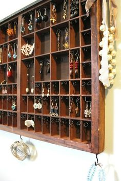 next project! Vintage Printer's tray into awesome jewelry display