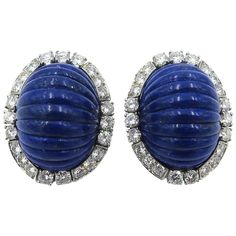 David Webb Lapis Lazuli Diamond Gold Platinum Earrings | From a unique collection of vintage clip-on earrings at https://www.1stdibs.com/jewelry/earrings/clip-on-earrings/