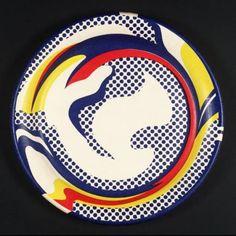 Reproduction de Roy Lichtenstein, Untitled paper plate (Assiette en papier sans titre). Tableau peint à la main dans nos ateliers. Peinture à l'huile sur toile.