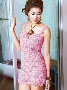Розовое платье крючком узором ракушки. Схема летнего платья крючком  