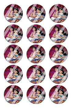 "Aladdin Jasmine Bottle Cap 1"" Circle Images #AJ25 (instant download or pre cut)"