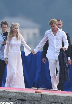 """Monaco's New Royal Couple Throw a Second Wedding— See Their Beautiful Photos!: One week after getting married in a civil ceremony at Monaco's Pink Palace, Pierre Casiraghi and Beatrice Borromeo said """"I do"""" for a second time in Italy on Saturday."""