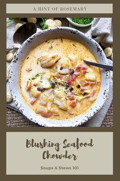 Seafood Chowder Recipes, Shrimp Chowder, Shrimp Soup, Chowder Soup, Seafood Gumbo, Fish Soup, Vegetarian Recipes, Cooking Recipes, Scallop Recipes