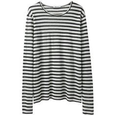 T by Alexander Wang Linen Stripe Long Sleeve (1.315 ARS) ❤ liked on Polyvore featuring tops, shirts, long sleeves, sweaters, ivory shirt, longsleeve shirt, stripe top, long sleeve stripe shirt and striped top