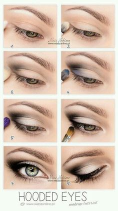 Make up tips for hooded eyes. This lightly smokey silver eye is beautiful! This step by step guide should aid application.