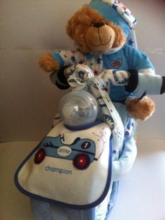 Baby boy Bike Nappy Cake Great gift for baby shower