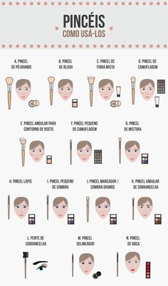 O pincel de maquiagem certo para cada parte do rosto e efeito
