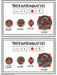 Best Way to teach a Dyslexic Child to Count Money. When teaching touch math with money, here is a reference strip for students to have with them practicing counting money at an independent or game s. Touch Point Math, Touch Math, Math Classroom, Kindergarten Math, Classroom Ideas, Classroom Money, Classroom Tools, Google Classroom, Future Classroom