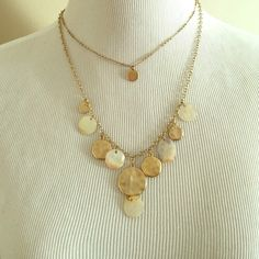 Necklace Gold double layer necklace with gold and pearl detail Jewelry Necklaces