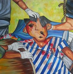 """The Face of War"" 48"" x 48"" Acrylic on Linen Canvas"