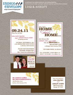 Moving at the same time as getting married? Consider using the save-the-date card as a moving announcement as well. We normally do 3.5x5 photo magnets but small business card magnets are also available if you want to include one with a card. #fallweddings #indigoenvelope