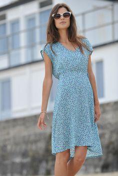 Cherry Print Slip Dress | Brora - I love the cut of this dress!