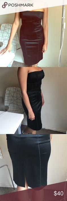 Satin BeBe dress - strapless Strapless XS satin dress Perfect Condition bebe Dresses Midi