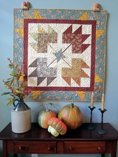 Four Maples Leaves Autumn Quilted Wall Hanging by QuiltedbyTommyD, $85.00