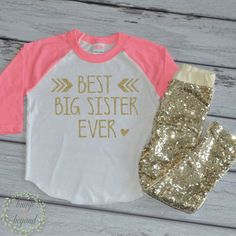 Best Big Sister Shirt Girls Big Sister Shirt Gold Big Sis Outfit Little Sister Shirt New Baby Announcement Raglan Top and Sequin Pants 125 #announcement_shirt #best_big_sister #big_sis_outfit